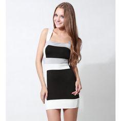 Color Block Square Neck Straps Party Dress