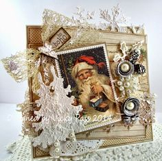 """Christmas card by LLC DT Member Vicky Pass, using papers from Pion Design's """"Wintertime in Swedish Lapland"""" collection. Santa image from Reprint."""