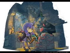 """""""Cave search in .... [Minecraft]"""" / illustration of """"イラスト"""" [pixiv]"""