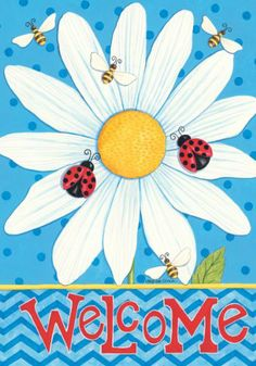 Custom Decor Flag Blue Daisy Welcome Garden flags decorative flags initial flags party flags 28 x 40 Inch Double Sided banner home flags Print house flags Side Garden, Lawn And Garden, Welcome Pictures, Flags For Sale, Party Flags, Polka Dot Background, Blue Daisy, Garden Decor Items, Flag Banners