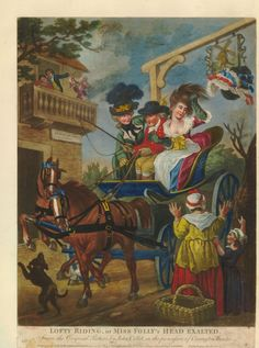 Satire: a young lady with high-piled hair has her hat knocked off by an inn-sign as she rides past in a high Phaeton.  1781  Hand-coloured mezzotint