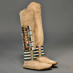 Pair of Ute Woman's High-top Moccasins | Sale Number 2879B, Lot Number 60 | Skinner Auctioneers
