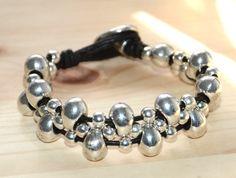 Zamak beads bracelet new design coffee leather por OtroAccesorio