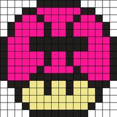 Zodiac Pisces Mushroom Perler Bead Pattern / Bead Sprite perler,hama,square pegboard,video games,nintendo, super mario bros,mushroom,