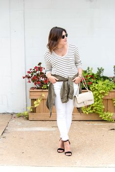 Tips for Wearing White All Season Long, white after labor day, white jeans, white pants, winter white, stripes, striped tee, olive and white, olive and stripes, black and white, chanel, strappy sandals, block heel, ray ban, shirt tied, around waist