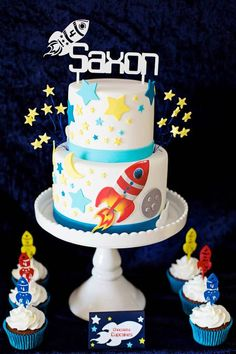 Rocket Ship + Space Themed Birthday Party