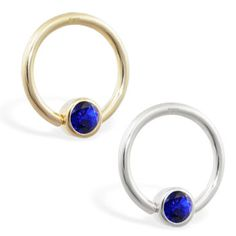 14K real gold captive bead ring with Sapphire.  #helix #piercing #jewelry #earrings #bodyjewelry ♥ $65.00 via OnlinePiercingShop.com