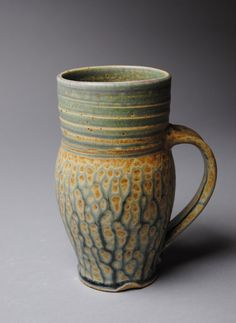 Clay  Mug Beer Stein Blue Ash T42 by JohnMcCoyPottery on Etsy, $35.00