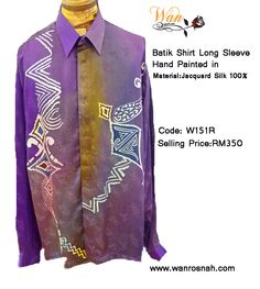 Batik Shirt Long Sleeve hand painted for men in jacquard silk 100%. Just perfect for all gentlemen who loves wearing quality batik shirts with simplify in batik motifs. Also available for gift wrap and ready to ship any where. Available to purchase online at our online store: http://www.wanrosnah.com/batik-long-sleeve-shirt-silk.html