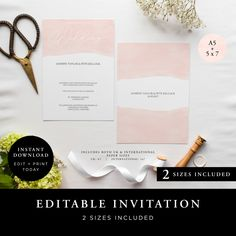 Wedding Invitation (Lily Collection) - DIY Printable Wedding Stationery, Template Set, Simple to edit INSTANT DOWNLOAD