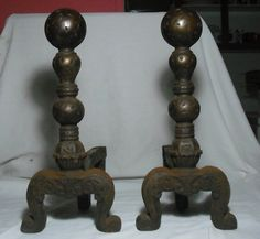 Vintage Pair Antique Cast Iron Andirons Fireplace Fire Dogs Early 1900's Ball