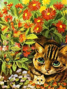 Mounted Louis Wain Cat Print Mounted Art 1983 Vintage Original Print Ready to Frame Flower Cats Louis Wain Cats, Creation Photo, English Artists, Art Et Illustration, Baby Cats, Baby Kitty, Kitty Cats, Kittens, Vintage Cat