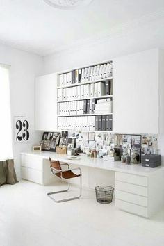 Organization.. Beautiful organized home office space inspiration.