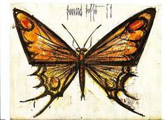 1959 Bernard Buffet Papillon lithograph mounted on wood. French Art, French Vintage, Buffet, Art Français, Butterfly Wall Art, Insect Art, True Art, Art Plastique, Art For Sale