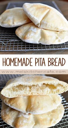 Pita bread is surprisingly super easy to make at home; in this post, you'll get all the tips and tricks to make the pita breads puff perfectly! I think the puffing aspect of pita bread Bread And Pastries, Homemade Pita Bread, Homemade Recipe, Homemade Tortillas, Homemade Food, Homemade Vanilla, Flour Tortillas, Baking Recipes, Pita Bread Recipes