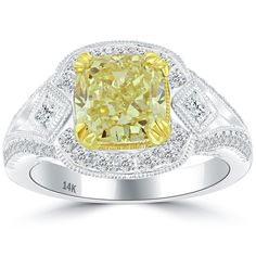 3.18 Ct. Fancy Yellow Cushion Cut Diamond Engagement Ring 14k Gold Vintage Style #LioriDiamonds #DiamondEngagementRing