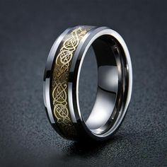 Dragon's Breath - Steel Viking Ring