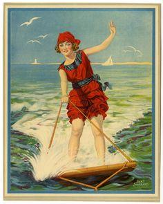 vintage bathing beauty on water skis Vintage Artwork, Vintage Prints, Vintage Illustrations, Vintage Pictures, Vintage Images, Continue A Nadar, Vintage Swimsuits, Bathing Beauties, Up Girl