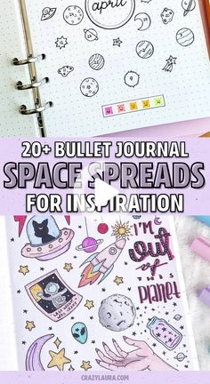 Love keeping the same theme throughout your entire bujo for the month? Check out the best bullet journal space spreads to make your pages look stellar! #bulletjournal Bullet Journal Health, Bullet Journal Cover Page, Bullet Journal Hacks, Bullet Journal Notebook, Bullet Journal Themes, Bullet Journal Spread, Bullet Journal Layout, Bullet Journal Inspiration, Bullet Journals