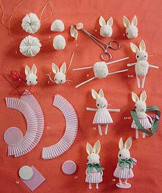 Make a cute pom pom bunny