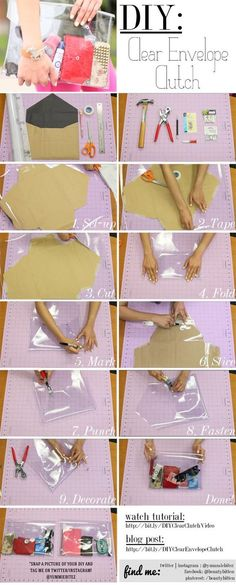 Ideas for sewing accessories bag diy clutch Diy Clutch, Diy Purse, Diy Envelope Purse, Diy Leather Envelope Clutch, Purse Tutorial, Diy Tutorial, Transparent Clutch, Best Leather Wallet, Techniques Couture