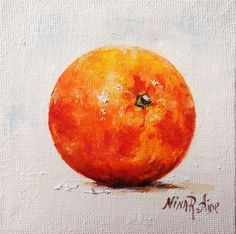 Orange Original Oil Painting by Nina R.Aide Kitchen Fruit Art Small Miniature Art Canvas board 4x4 by NinaRAideStudio on Etsy orange#oil painting#fruit