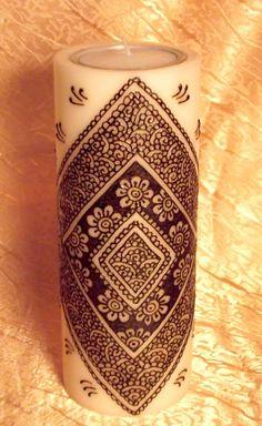 Bougie avec du henné 23cm de haut