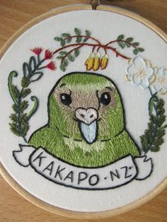 Kakapo Animal Embroidery/ New Zealand/ New by ArtsforAnimals. This shop is amazing, focusing on conservation of a whole range of animals. A 10% donation to a wildlife charity will be made with the sale of this piece.