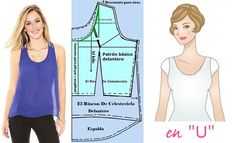 U-neckline blouse pattern sleeveless shoulder straps, back Dovetail Jacket Pattern, Top Pattern, Pattern Ideas, Sewing Hacks, Sewing Tutorials, Dress Patterns, Sewing Patterns, Pattern Drafting, Diy Shirt