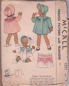 MOMSPatterns Vintage Sewing Patterns - McCall's 1311 Vintage 40's Sewing Pattern SMART Baby Girls Fancy Rounded Yoke Smocked Swing Back Coat, Sun Brim Bonnet, Hat, Smocking Transfer Size 1