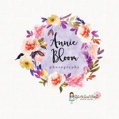 flower wreath logo florist logo floral logo by stylemesweetdesign