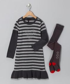 Take a look at this Charcoal Stripe Knit Dress & Tights - Toddler & Girls by à petite échelle on #zulily today!