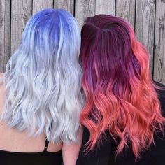 Haare Fire and Water. Gryffindor and Slytherin. Hermione and Draco. Creative Hair Color, Cool Hair Color, Fire Hair Color, Black Ponytail Hairstyles, Pretty Hairstyles, Hairstyle Ideas, Hair Inspo, Hair Inspiration, Pelo Multicolor