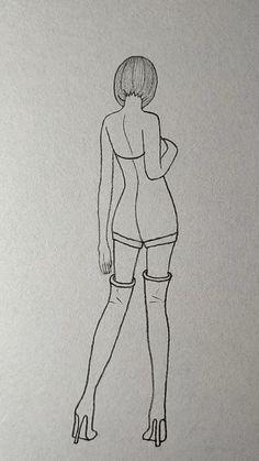 Dress Design Drawing, Girl Drawing Sketches, Art Drawings Sketches Simple, Pencil Art Drawings, Clothes Design Drawing, Dress Drawing Easy, Croquis Drawing, Girl Drawing Easy, Sexy Drawings