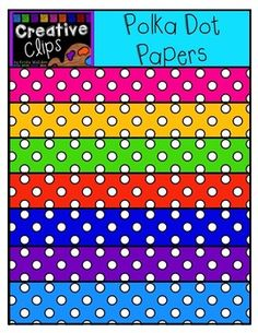 This set has bright polka dot papers! Perfect for spring or year round use! Enjoy!The images will have high resolution, so you can enlarge them and they will still be crisp. All images are in png formats so they can easily be layered in your projects and lesson materials.