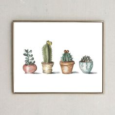 or Print of the original drawing and watercolor painting. Each piece was hand drawn with pencil, outlined in ink, then water colored. Next, the painting was scanned into my computer and mad Art Aquarelle, Watercolor Paintings, Watercolour, Pencil Drawings, Art Drawings, Cactus Drawing, Cactus Print, Art Inspo, Painting & Drawing
