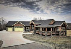 23 Best Ideas For House Exterior One Story Ranch Style Cabin Homes, Log Homes, Style At Home, Future House, My House, Le Ranch, Dream House Exterior, House Exteriors, Ranch Style