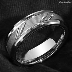 Superior Quality Tungsten Ring - Absolutely Without-a-Doubt Guaranteed Genuine Tungsten This gorgeous ring is made of Genuine Tungsten with a Brushed Finish. Comfort Fit- Slightly domed on the inside of the band resulting in a very comfortable fit, there will be no edges grinding into your finger Everyone who buys Wedding Men, Wedding Bands, Photo Bb, Tungsten Carbide Rings, Bridal Sets, Stone Rings, Bridal Jewelry, Rings For Men, Silver Rings