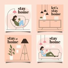 Stay at home event instagram story collection template. Download for free at freepik.com! #Freepik #freevector #template #stayathome Graphic Design Templates, Modern Graphic Design, Illustration Story, Instagram Story Template, Instagram Highlight Icons, Stay At Home, Design Reference, Motivation, Vector Free