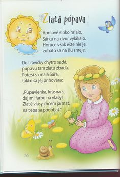 detské básne - Hľadať Googlom Spring Activities, Activities For Kids, My Baby Girl, Baby Knitting Patterns, Winnie The Pooh, Diy And Crafts, Preschool, Classroom, Education