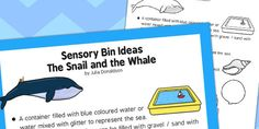 Sensory Bin Ideas The Snail and the Whale - sensory, bin, snail Sensory Bins, Sensory Activities, Primary Resources, Teaching Resources, Snail And The Whale, Story Planning, Curriculum, Seaside, Literacy