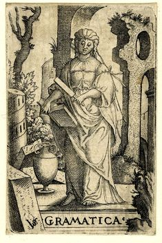 The liberal arts; Grammarprint; Virgil Solis (Print made by); Female personification; whole-length figure in frontal view; holding a book and a file 1530-1562