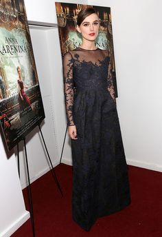 Keira Knightley Evening Dress  Keira epitomized romance in this black brocade gown at the NY premiere of 'Anna Karenina.'  Brand: Valentino Couture