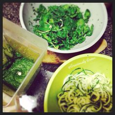 Food prep for Pistachio Pesto + Zucchini Pasta + Spinach & Parsley Salad with a drizzle of lemon  raw perfection!
