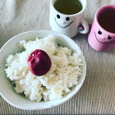 Something different. Pickled plum rice and a couple of green tea cups to start the day.  #morning #goodmorning #breakfast #rice #plum #umeboshi #sencha #greentea #Japan #couple #pair