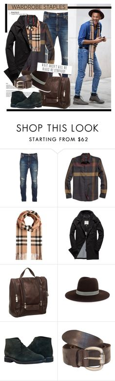 """Mad for Plaid and PaoloShoes"" by spenderellastyle ❤ liked on Polyvore featuring Nudie Jeans Co., GUESS, Burberry, Superdry, Piel Leather, Janessa Leone, men's fashion, menswear, plaid and WardrobeStaples"