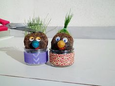 Nos bonhommes aux cheveux d'herbe.