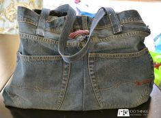 Repurposed denim. Jean tote bag. Tote bag made from old jeans.