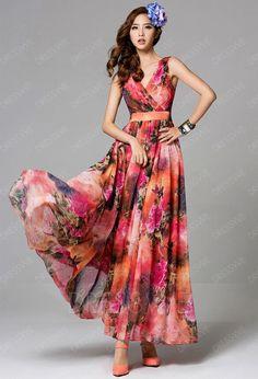 Buy Trendy V-Neck Empire Floral Printing Long Beach Maxi Dress  Online, Dresswe.Com offer high quality fashion,Price: USD$98.49