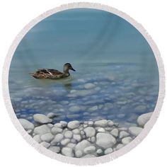 Watercolor duck, round beach towel